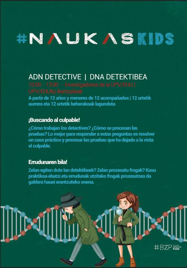 Cartel taller ADN detective (Naukas kids 2018)